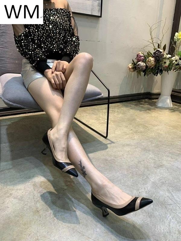 Duping520 Top Ladies Leather Low Heel Shoes Women High Heels Sandals Slippers Mules Slides Pumps Shoes Sneakers Dress Shoes