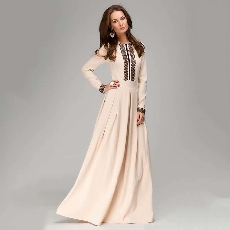 75d346dad S.FLAVOR 2018 estilo ruso Primavera Otoño Nuevas mujeres vestido largo de  color sólido con encaje buena calidad vestidos elegantes vestido maxi ...