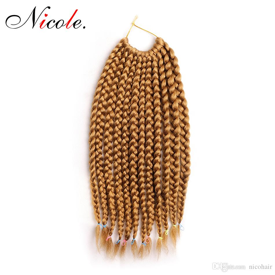 Nicole Box Braids 14-24 Inches 12 Root/pack Extensions Ombre Kanekalon Synthetic Crochet Braids 100 grams/pack free shipping Crochet Hair