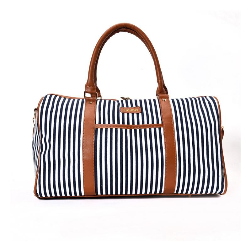 code promo 9c8c7 971fa Sac de voyage pour femmes Sac fourre-tout rayé à la mode Grand sac de  week-end Femme Emballage Cubes Valise Sacs à bandoulière Noir / rouge