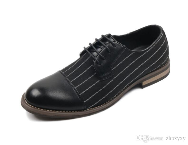 New Arrival Stripe Simple Design PU Leather Business Dress Shoes Mens Casual Shoes Lace-up Flats EUR Size 38-44 1a36