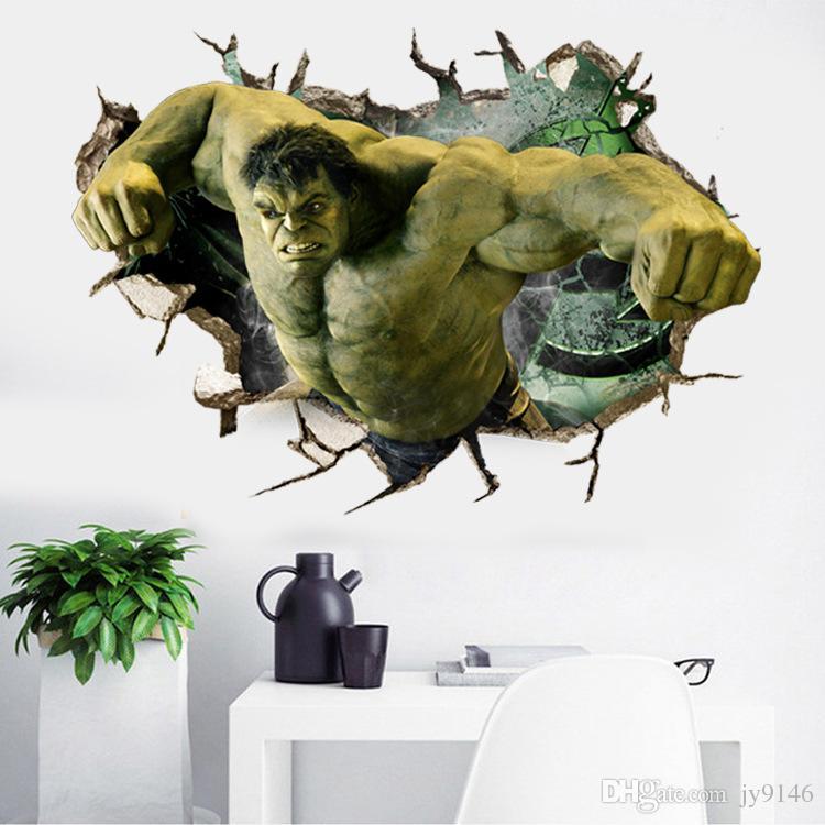 3d hulk wall sticker diy broken wall the avengers wall art decals