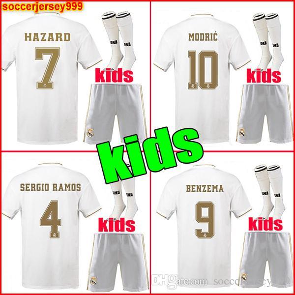 971a6951b6 Compre 19 20 Real Madrid Crianças Kit Camisa Futebol # 7 HAZARD DE 2019  2020 Longe Terceiro Meninos BENZEMA BALE Modric RAMOS Camisa De Futebol  Uniformes ...