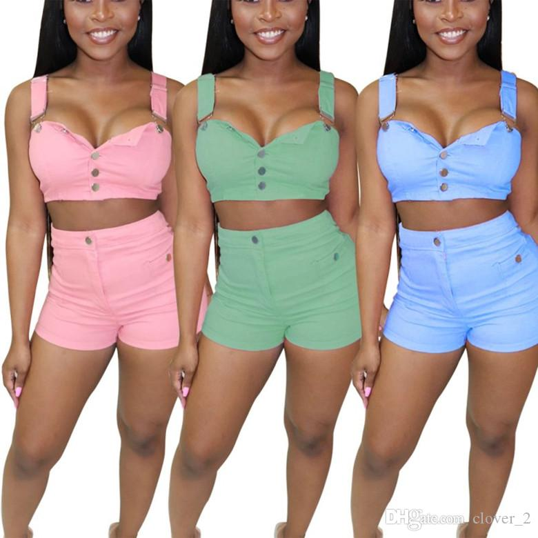 Women jean suspenders fashion denim outfits 2 piece set condole tops skinny shorts sweatshirt tight sport suit klw1616