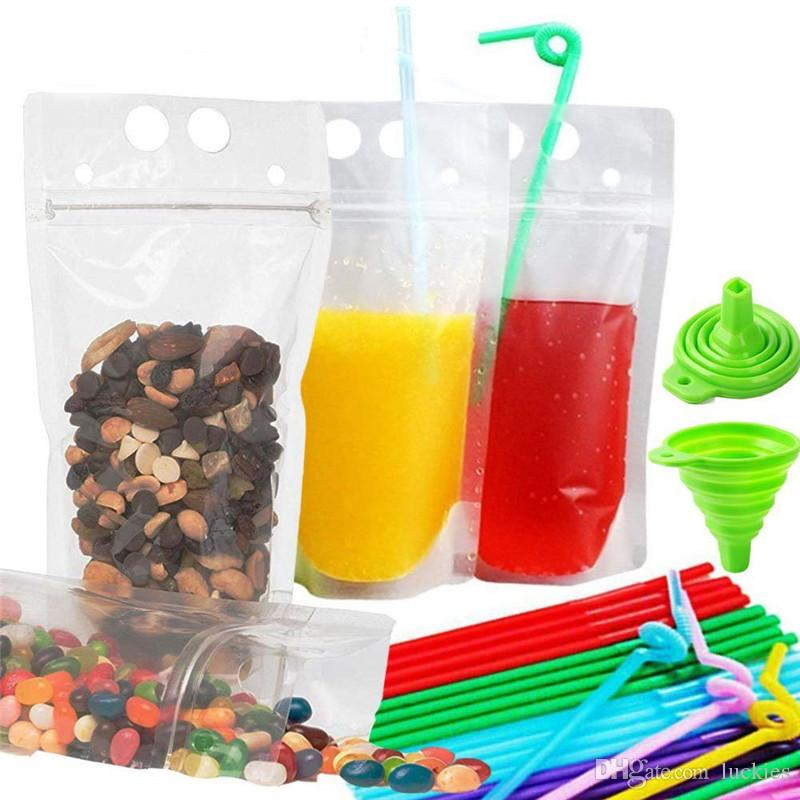 Zipper Drink Bag Stand-Up Transparent Plastic Pouches Bags with Drink Straws Funnel Heavy Duty Hand-Held Reclosable Heat-Proof Bag