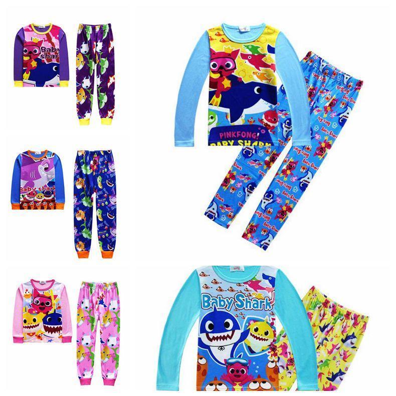5baaac72f02e INS Kids Baby Shark Long Sleeve Pajamas Set Cartoon Clothing Sets ...