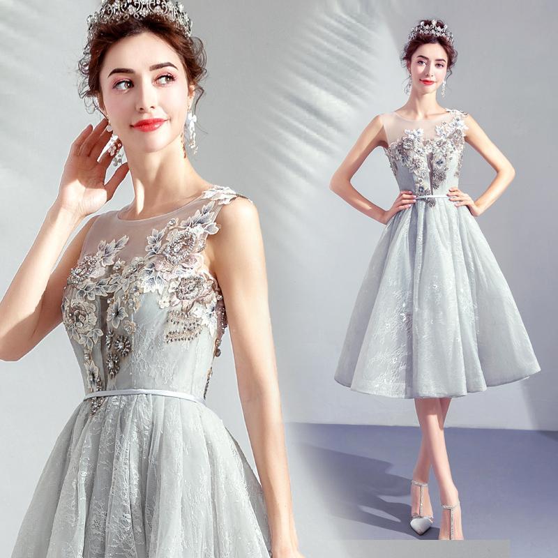 Smoke Blue Bridesmaid Dresses