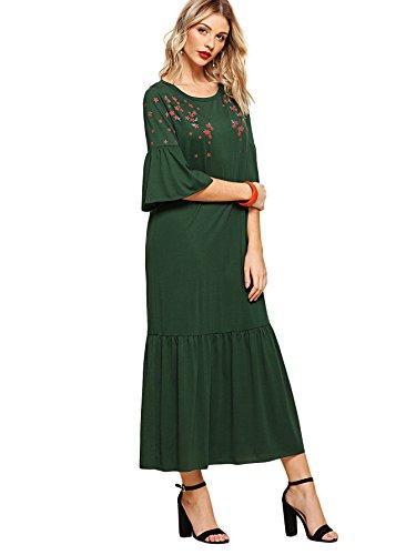 Milumia Women s Floral Print Fluted Sleeve Tiered Ruffle Hem Long Dress  Milumia Women s Floral Print Fluted D180509733Q13-XS Online with   46.88 Piece on ... d3118f002