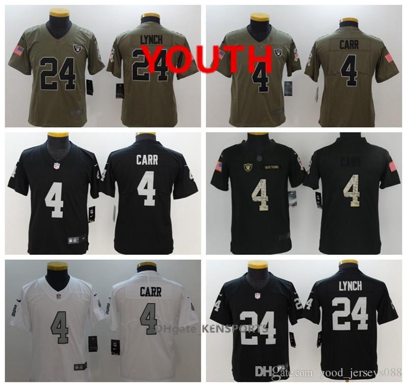 official photos 01d78 7e686 Youth Oakland Football Raiders Jersey 4 Derek Carr 24 Marshawn Lynch 20  McFADDEN Color Rush All Stitching Jerseys