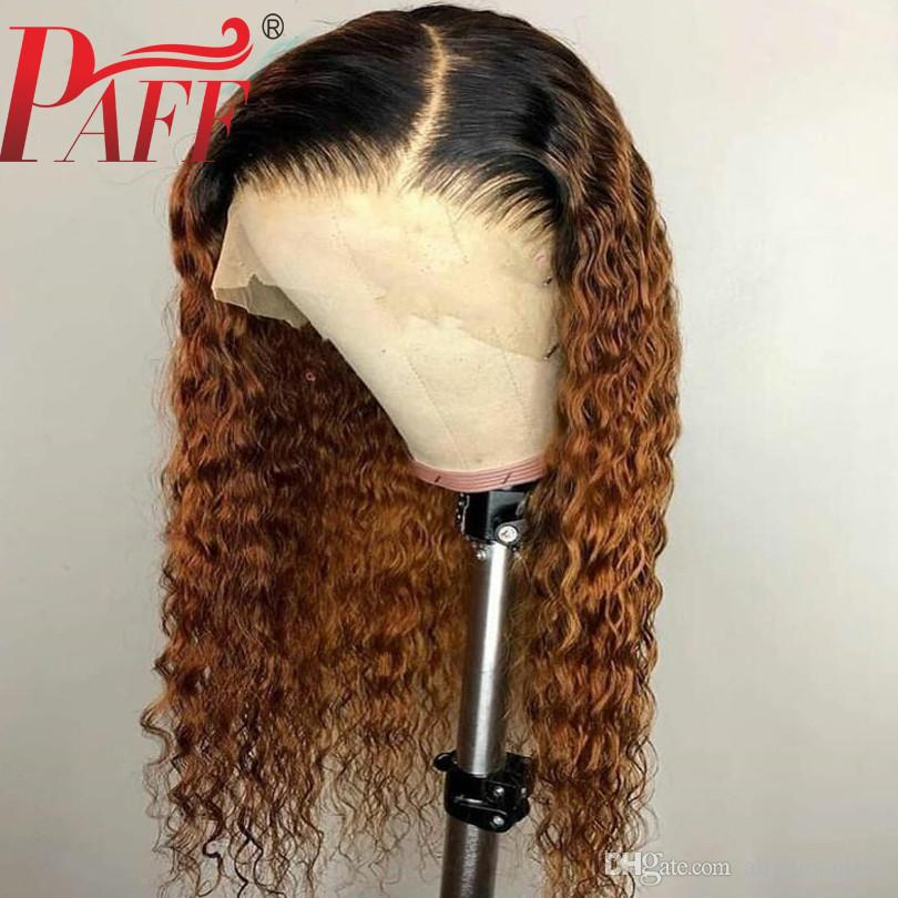 PAFF 4*4 Silk Base Curly Wigs Ombre Color Pre Plucked With Baby Hair Brazilian Remy Hair Full Lace Human Hair Wig