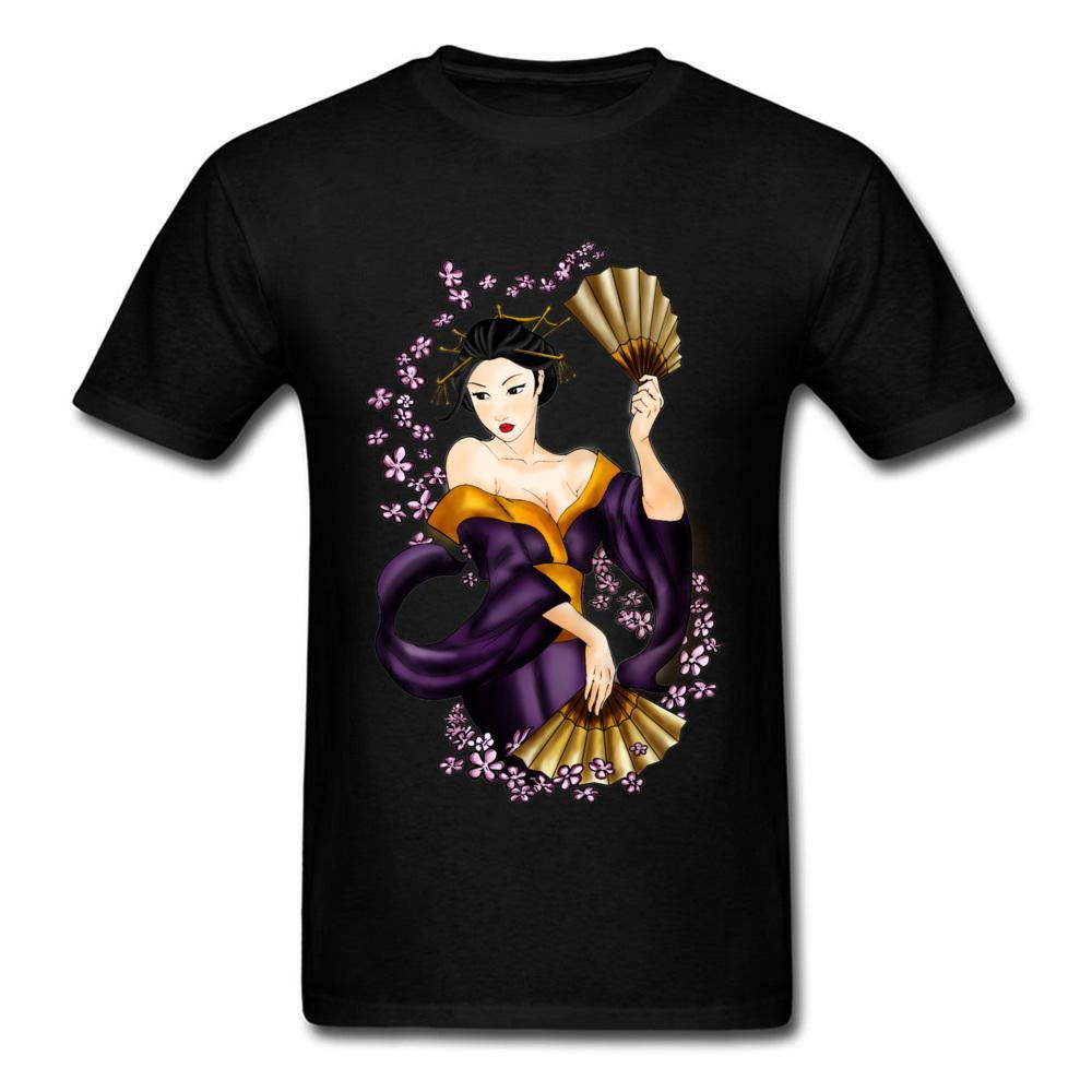 1b91f0002 GEISHA T-shirt Estilo Japão Camiseta Mulher Impresso Tshirt Dos Homens 100%  Algodão Encabeça Verão Sexy Roupas Slim Fit Tee Crewneck