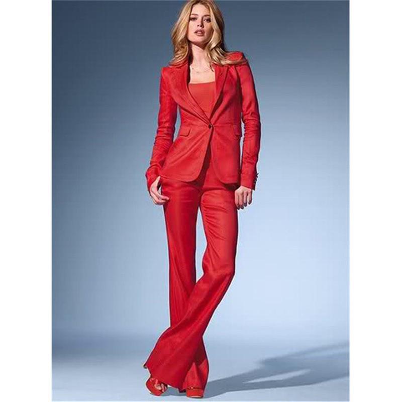 huge selection of f256f e9130 Su misura Pantaloni Formali Rossi Abiti Per Matrimoni Abiti da Donna  Business Femminile Uniforme Casual
