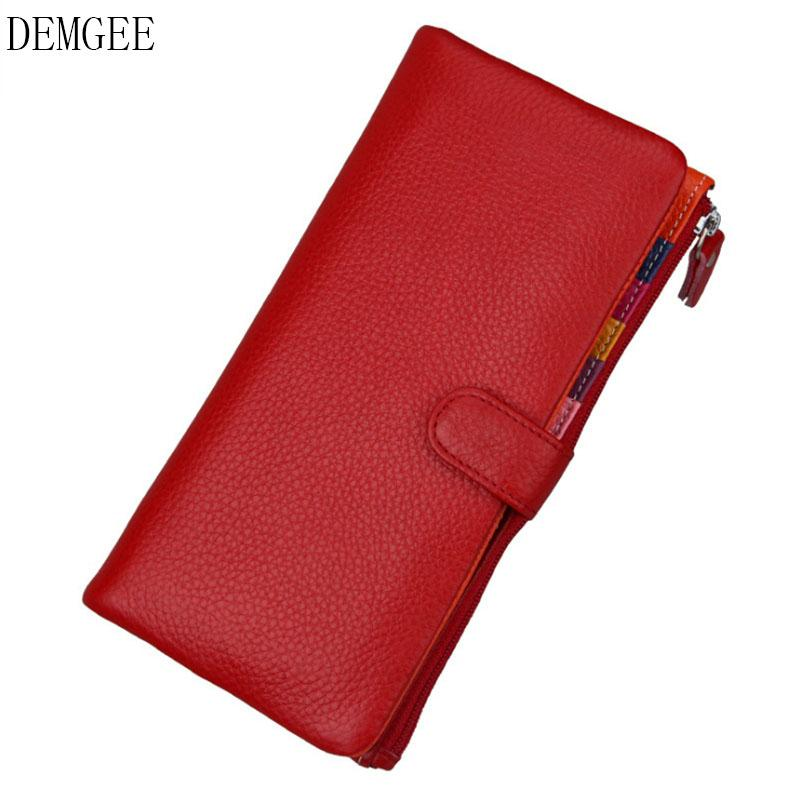 17f7a3500df 2018 Genuine Leather Women Wallet Female Long Clutch Lady Wallet ...