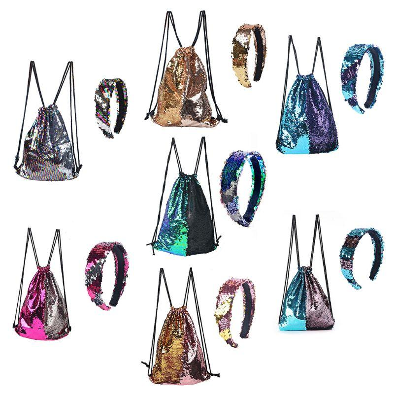Reversible Sequin Drawstring Bag Cinch Sack Backpack Purses Rucksack + Headwear Set for Kids Girls Bag