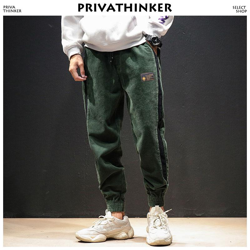 40f84bcb Men Corduroy Streetwear Sweatpants 2018 Men s Side Stripe Winter Track  Pants Male Aesthetic Thick Joggers Trousers