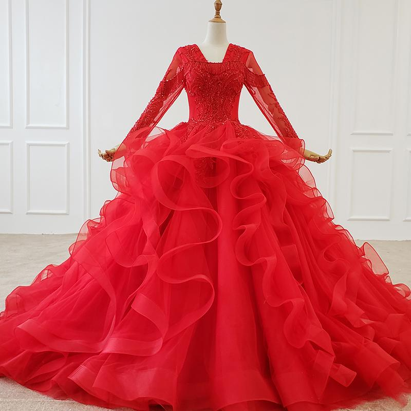 2020 Red Elegant Evening Formal Dress With Train V-neck Long Tulle Sleeve Beading Tiered Lace Mother Of The Bride Dress Sukienka Wieczorowa
