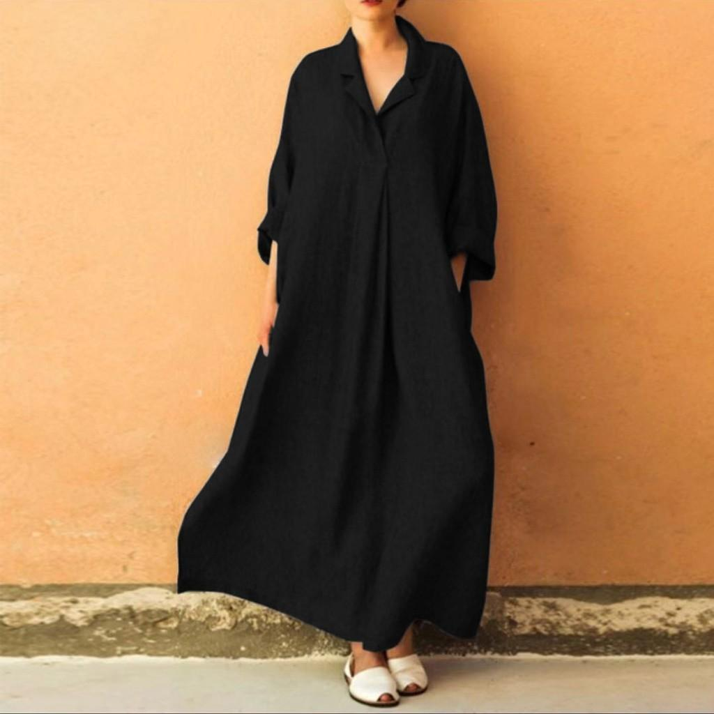 Autumn winter dress Plus Size Long Sleeve V-Neck Cotton and Linen Maxi Dress Ankle-Length casual dress UK