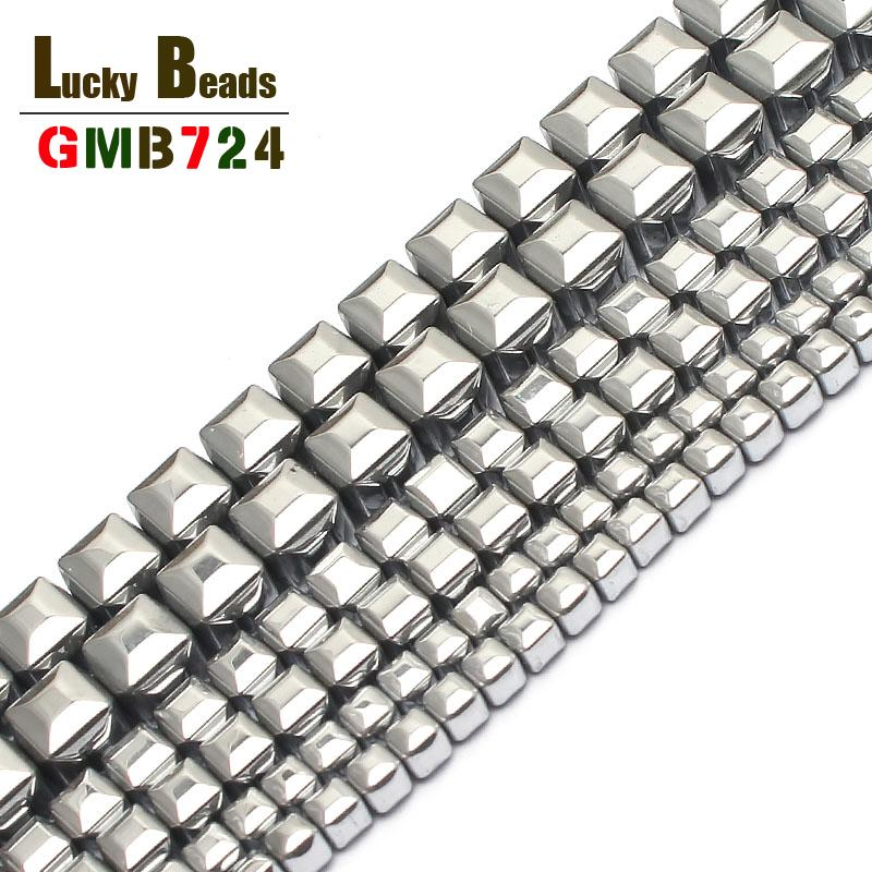 stone Natural Stone 3/4/6mm Silver-Plated Hematite Cube Square For Jewelry Making 15inches Spacer Beads Making Bracelet