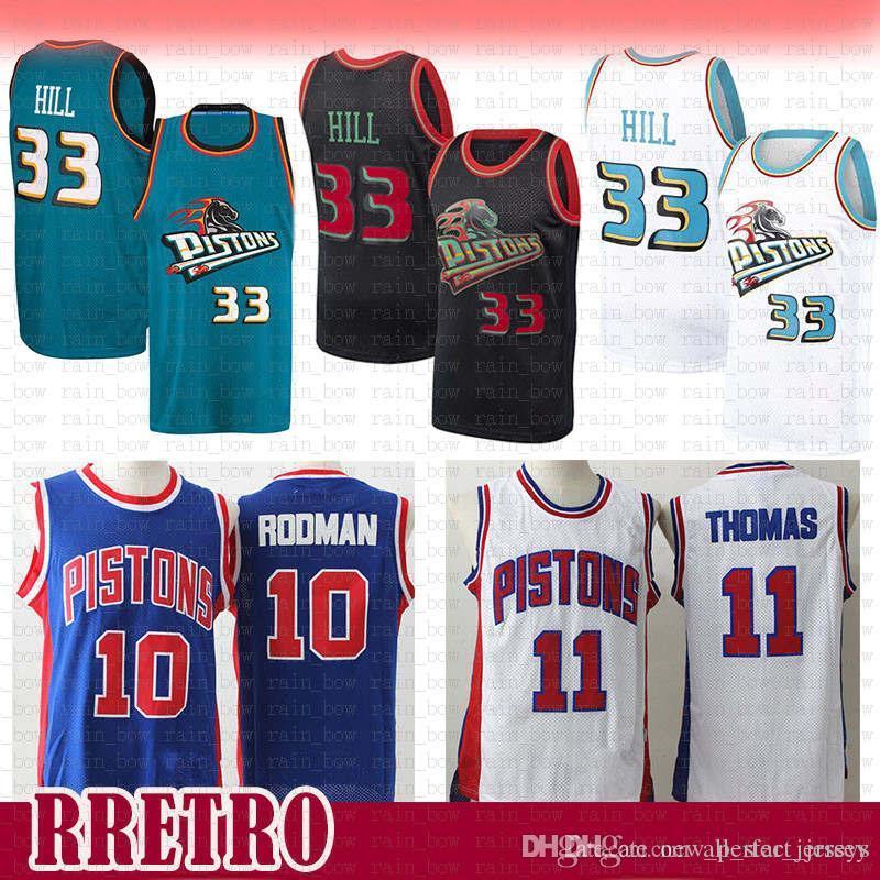 34b88fa0d 2019 33 Grant   Hill Detroint Jersey Pistons 11 Isiah   Thomas 10 Dennis    Rodman Mesh Retro Basketball Jerseys From All star jerseys