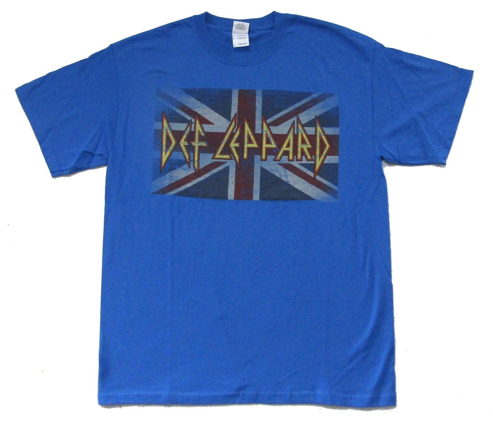 80c069af Def Leppard Distressed Union Jack Flag Logo Blue T Shirt New Official Band  Funny Unisex Casual Gift Crazy T Shirts Online Cool Looking T Shirts From  ...