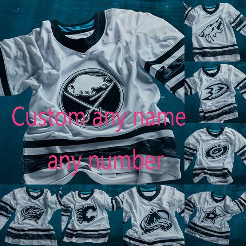 sale retailer a6b1b 51b10 2019 All Star Game White Jersey Colorado Avalanche Dallas Stars Edmonton  Oilers Carolina Hurricanes Minnesota Wild Custom Hockey Jerseys