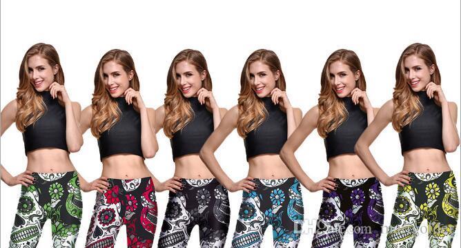 4ff41c1c735e8 Acheter Femmes Pantalons Serrés Fleurs Squelette Imprimer Pantalon Maigre  Robot Leggings Pour Automne Femmes Casual Pantalon De Sport Gym Yoga  Vêtements De ...