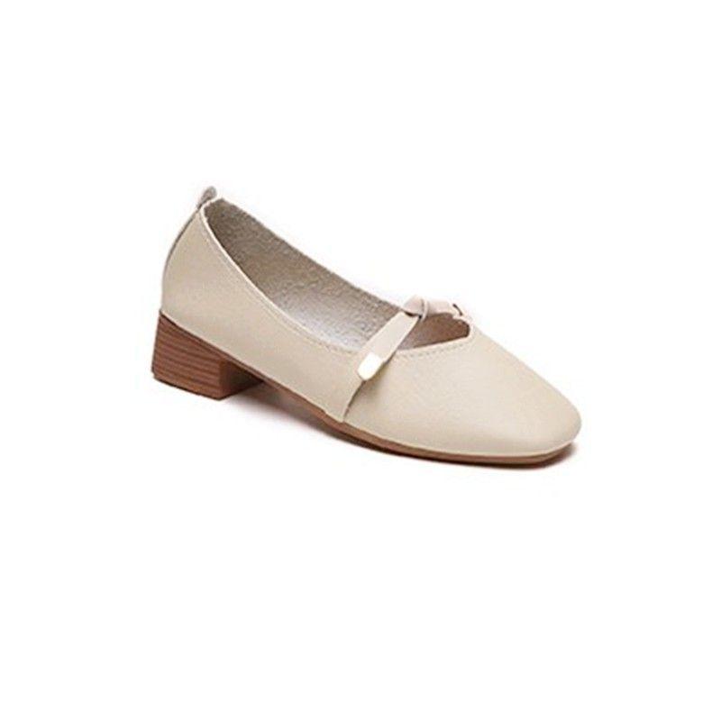 2019 2018 Autumn New Korean Retro Grandmother Shoes Female Mid Heel ... 14b705b94