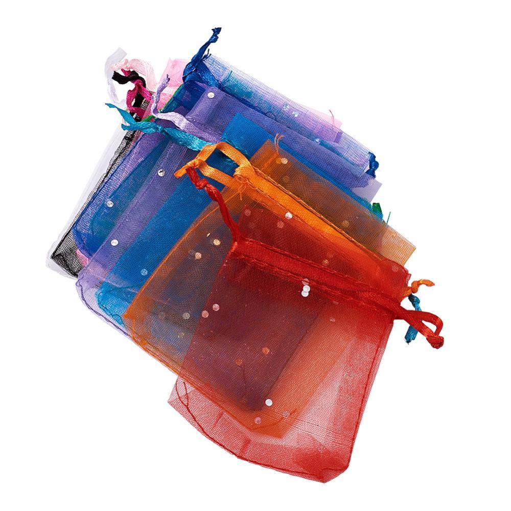 100 قطعة / الوحدة 9x7 سنتيمتر يعرض الأورجانزا حقائب مع الترتر أشرطة الحقائب ل عيد الميلاد عيد الميلاد حزب هدية حزم الحلوى