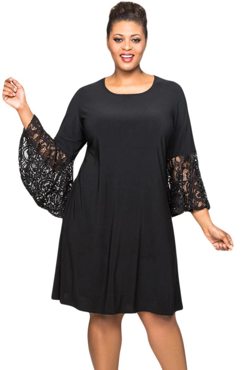 497dcfde1d23 Nuevos vestidos de talla grande para mujer 4xl 5xl Otoño Negro de  lentejuelas de encaje de manga de campana de gran tamaño Mini vestido  Vestidos ...