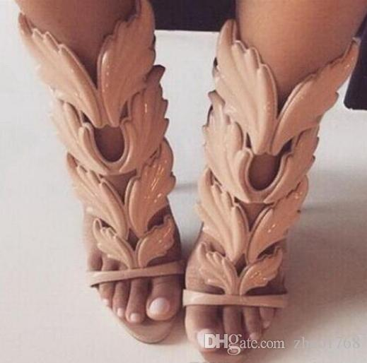 f933a05ecf16 HOT SALE Amazing Lady Angel Wings Black Nude Thin High Heels Sandals  Gladiator Rome Wedge Women Golden Leaf Leather Pumps Sandals Shoes Cheap  Shoes For Men ...