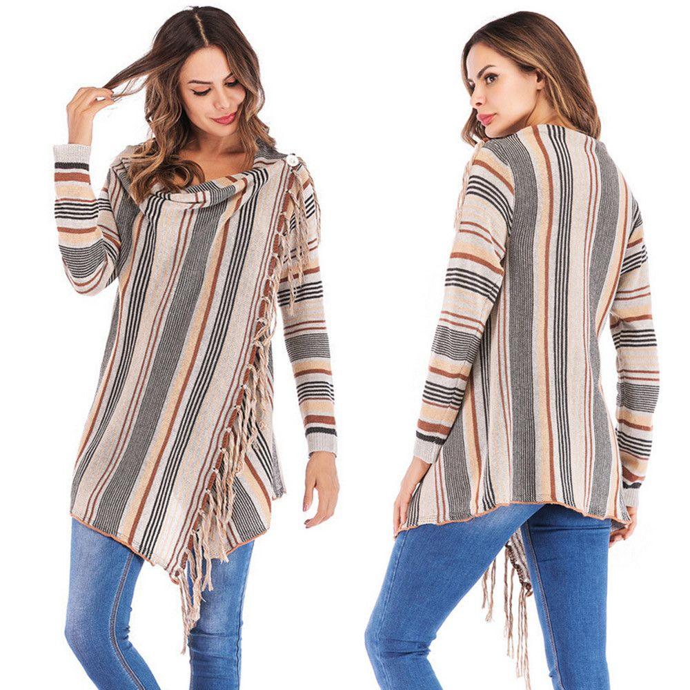1f8f6e620e 2019 Women Stripes Poncho Fall Open Front Casual Tassels Long Coat Slash  Gradient 2018 Shawl Hem Fringe Loose Sweater Outwear From Zhenhuang