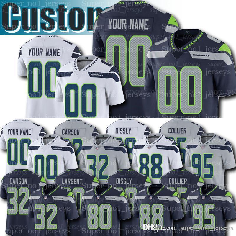 online store 766f9 6b203 Custom Seattle Seahawks Jersey 80 Steve Largent Jerseys 55 Brian Bosworth  Jersey Chris Carson Kenny Easley Jim Zorn Moon Kennedy Jones