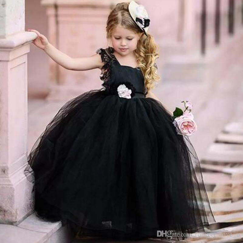 Hochzeit Blumenmädchen Gothic Kleid Schwarz 2019 Spitze Großhandel thQdxrCs