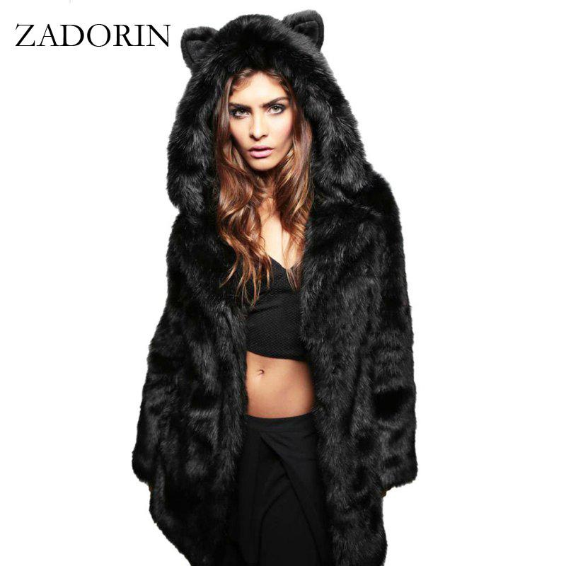46c351f082f ZADORIN Fashion Winter Women Faux Fox Coat Hooded With Cat Ears Thick Warm  Long Sleeve Black Fake Fur Jacket Gilet Fourrure C18112001 Online with ...