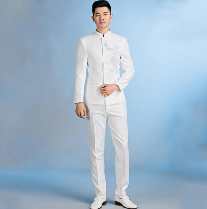 cd24174a4 2019 Blazer Men Chinese Tunic Suit Set With Pants Mens Wedding Suits Singer  Star Style Dance Stage Clothing Formal Dress White From Oott, $99.83 |  DHgate.
