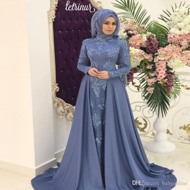 Modest Arabic Saudi Muslim High Neck Evening Dresses Hijab Lace Appliques Long Party Celebrity Gowns Prom Dress with Detachable Skirt