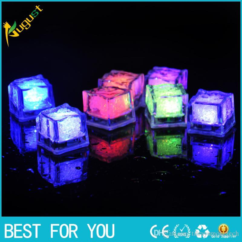 New Hot LED Ice Cube Fast Flash Slow Flash 7 Colors Auto Changing Crystal  Cube For Valentine's Day Party Wedding