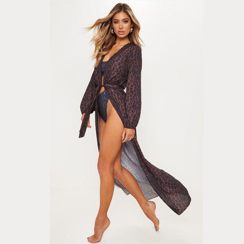 4071cefbee3fa 2019 2019 New Women Chiffon Kimono Beach Cardigan Bikini Cover Up Wrap  Leopard Print Beachwear Long Dress From Harrieta