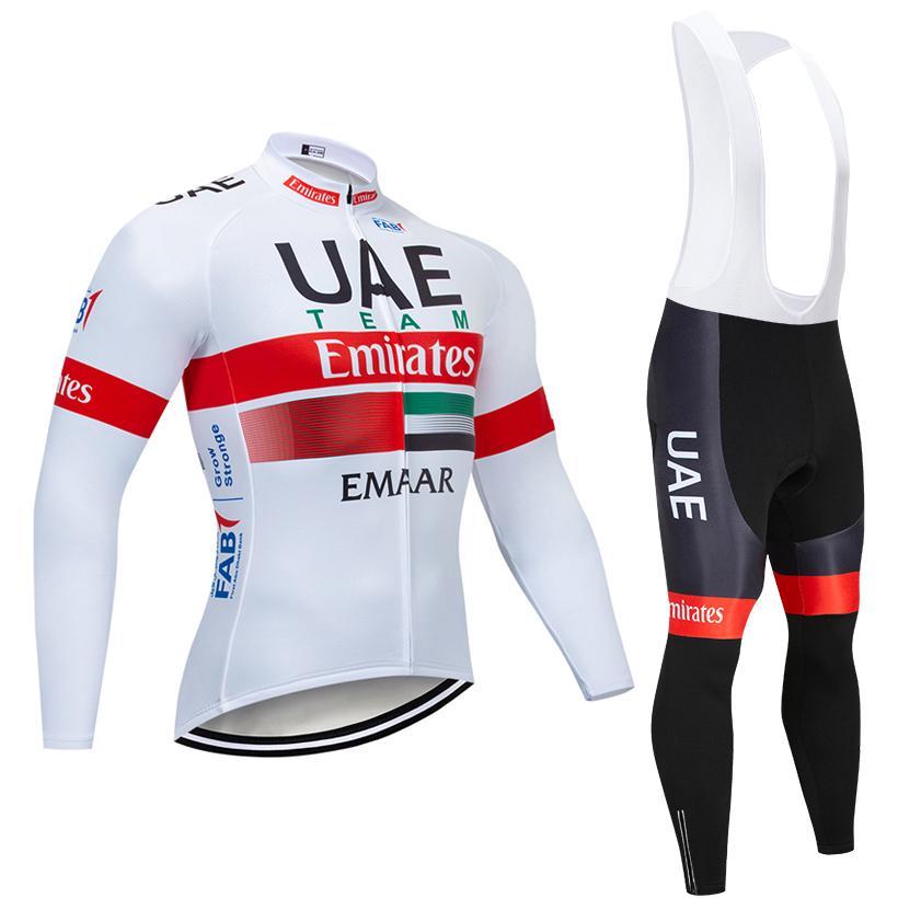 a92fbb8fcb Invierno 2019 Equipo De Ciclismo De Los Emiratos Árabes Unidos Camiseta 12D  Almohadilla Conjunto De Pantalones De Bicicleta MTB Ropa Ciclismo Térmica  Polar ...