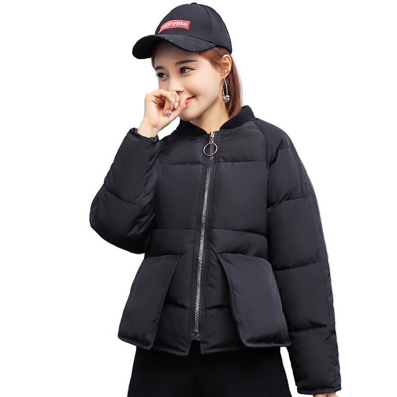 Korean style short women winter jackets chic pockets design warm coats fashion casaco feminina inverno mujer
