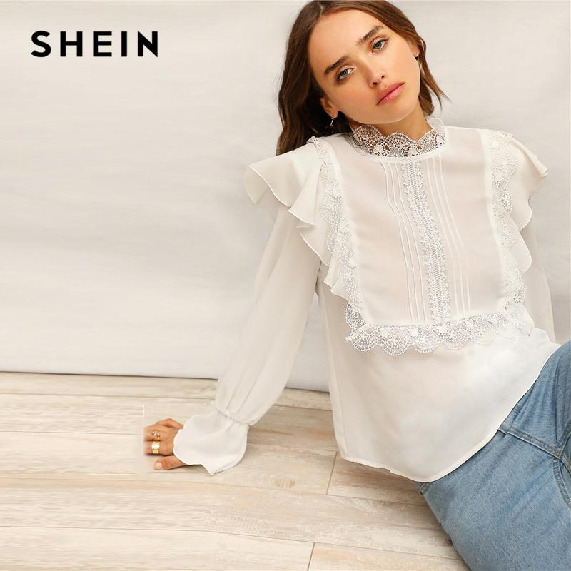 9e0da7dbfb 2019 SHEIN Boho White Keyhole Back Lace Mock Neck Ruffle Top Blouse Women  Spring Flounce Sleeve Office Lady Elegant Tops And Blouses From Stripe, ...