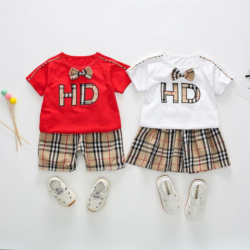 e1910b43797f3 Kinderkleidung neue Sommer Baby Jungen Mädchen Kurzarm T-Shirt Gitter  Shorts Rock zweiteilige Kinder Set Tops Hose