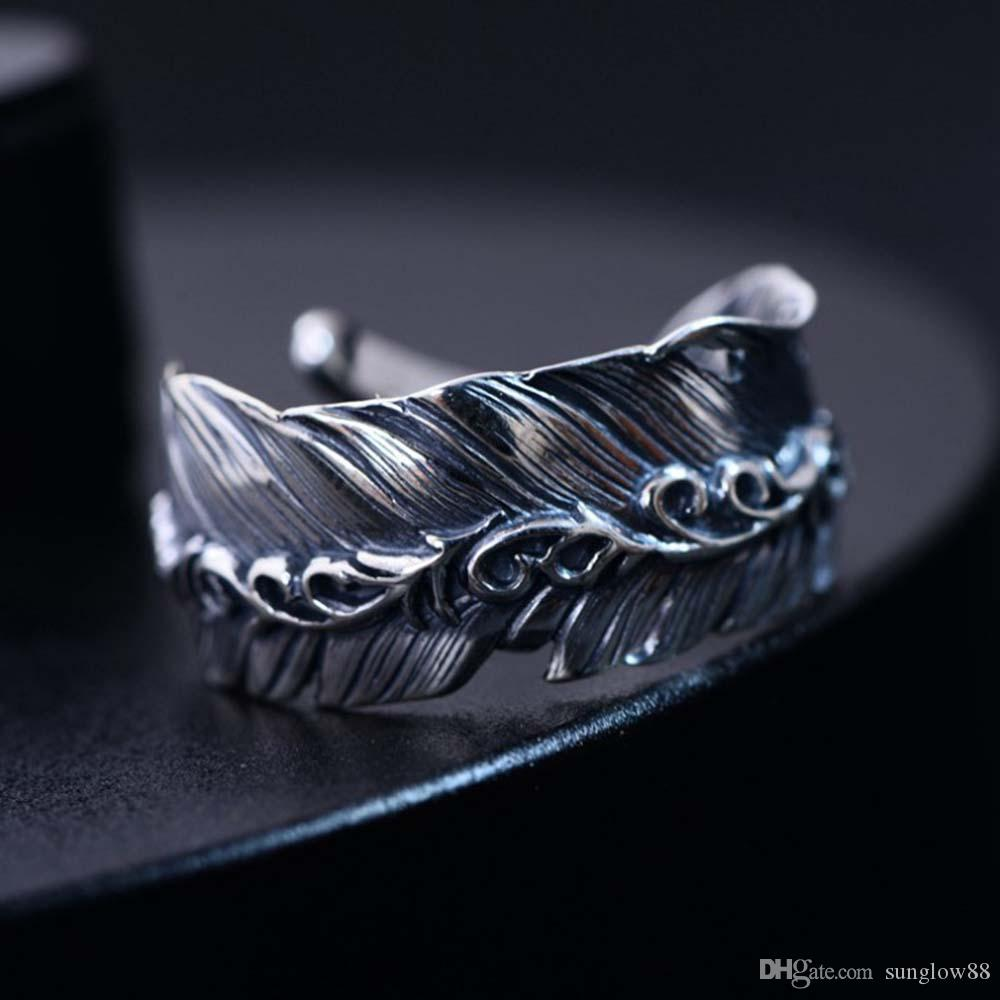 Rhodium Plated 925 Sterling Silver Retro Jewelry Feather Style Band Ring for Women Men Adjustable Size