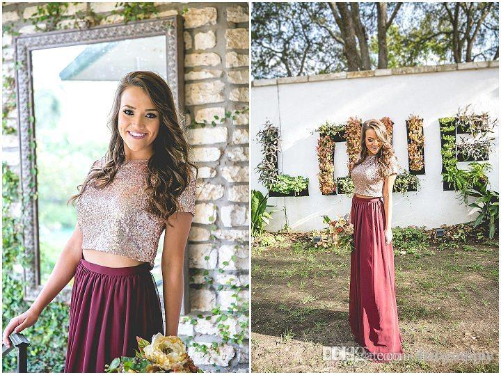 Rose Gold Sequins Long Bridesmaid Dresses A Line Burgundy Chiffon Skirt Maid Of Honor Gowns Wedding Guest Party Dresses BA6534