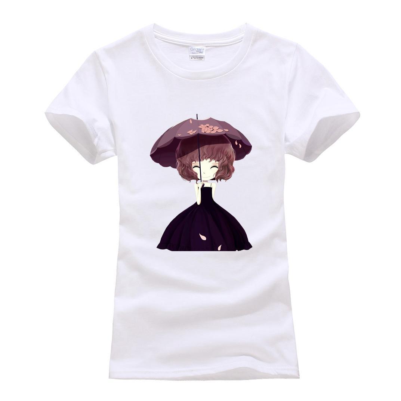 a8e4906fd9 Compre T Das Mulheres Dos Desenhos Animados Menina Bonita Impressão Tops  Estilo Slim Hot Sale T Camisas Para As Mulheres 2019 Verão Marca T Camisa  De Manga ...