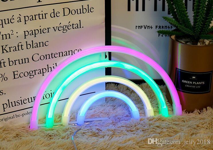 Cartoon Neon AA Battery Powered Unicorn Lamp Pink Flamingo Led Bulb Light  Neon Lights Bedroom Decoration Marquee Neon Signs 2019