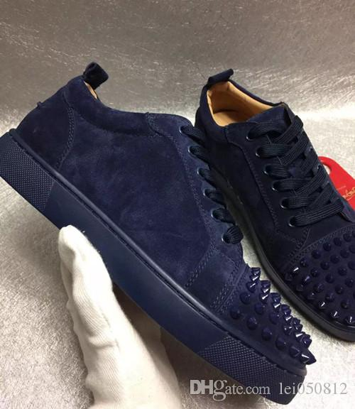 a5442a77a7c0 Elegant Junior Men S Sneaker Shoes Black Blue Sliver Low Top Spikes Red  Bottom Leather Shoes