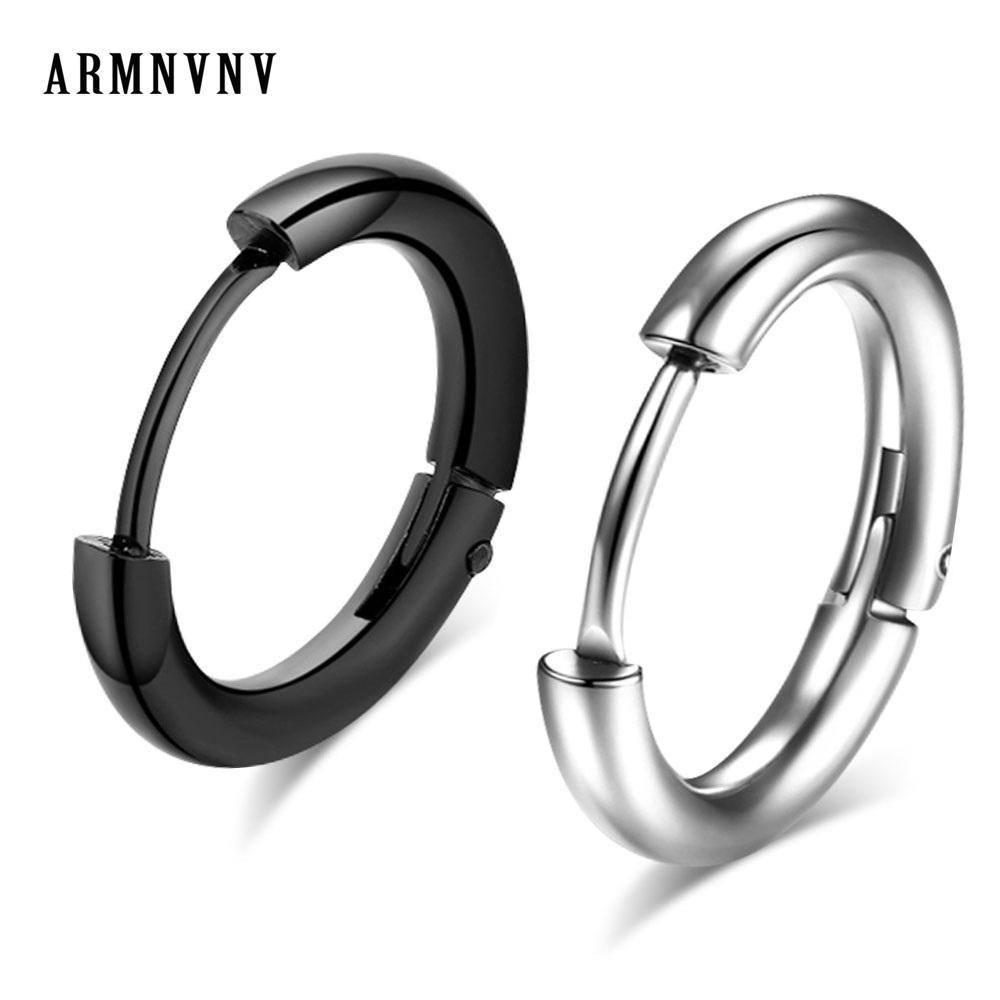 c4cd016955327 ARMNVNV Silver Black Hoop Earrings 316L Stainless Steel Diameter Size  13/15/17mm New Circle Earring Titanium Steel Jewelry