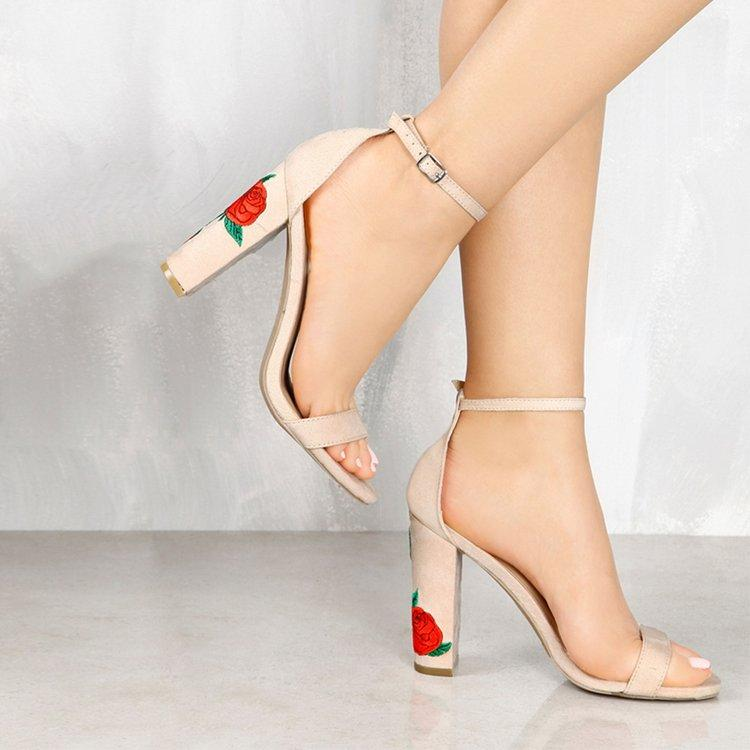 6406b0aea3632 Women Super High Heels Sandals Suede Leather Embroidery Rose Ankle Strap  Summer Dress Shoes High Heel Shoes Cute Shoes Leather Sandals From  Gongfu119, ...