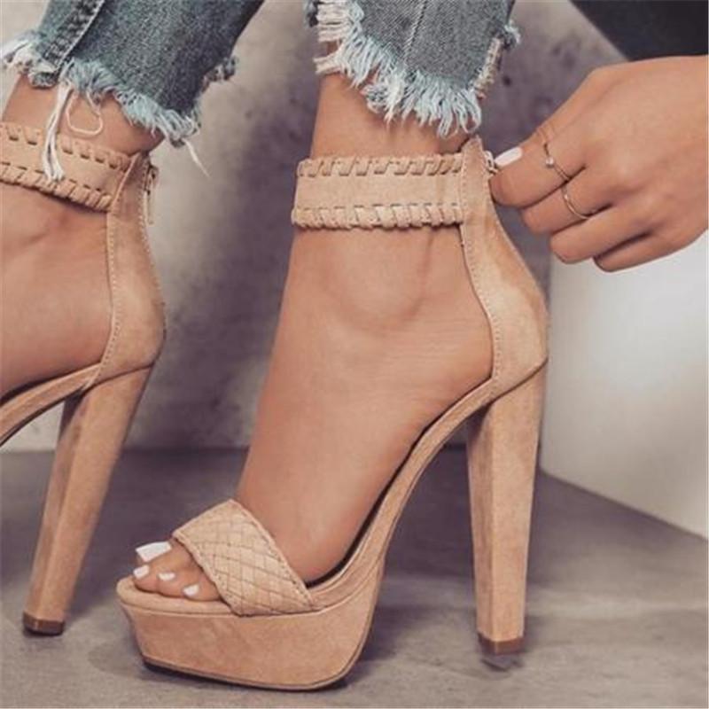311efd6c4ce Compre 2018 Nuevas Mujeres De Moda Sexy Sandalias Zapatos De Verano Tacón  Alto Peep Toe Sandalias Trenzado Anillo Del Pie Talones Cuadrados Sexy  Sandalias A ...